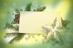 Christmas decoration with greeting card Stock Photo