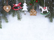 Christmas decoration, grunge background, christmas card Stock Photo