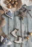 Christmas decoration on grunge wooden background Stock Photos