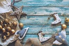 Christmas decoration on grunge wooden background Stock Photo
