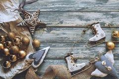 Christmas decoration on grunge wooden background Royalty Free Stock Image