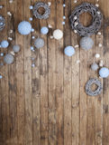 Christmas decoration on grunge wooden board Royalty Free Stock Image
