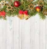 Christmas decoration on  grunge wooden board Royalty Free Stock Photos