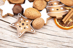 Christmas decoration on the half of old wood Royalty Free Stock Photography