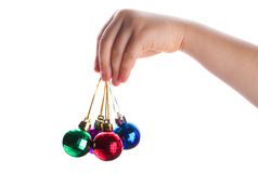 Christmas decoration in hand Stock Photos