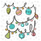 Christmas decoration hand draw with pattern Stock Images