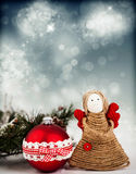 Christmas decoration with handmade angel royalty free stock photography