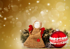 Christmas decoration with handmade angel Royalty Free Stock Photos
