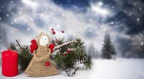 Christmas decoration with handmade angel Stock Image