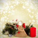 Christmas decoration with handmade angel stock images