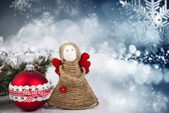 Christmas decoration with handmade angel Royalty Free Stock Photo