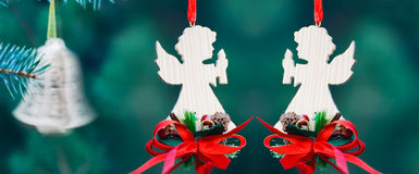 Christmas decoration of handmade angels Stock Photos