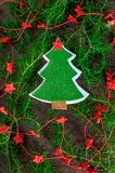 Christmas decoration handmade christmas trees from felt with red stars Royalty Free Stock Photos