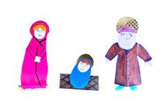 Christmas decoration handmade - figurines  Jesus, Mary, Joseph. Isolated nativity scene. The birth of Christ Royalty Free Stock Photography