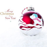 Christmas Decoration with  Handmade red ball painted with an acr Stock Photos