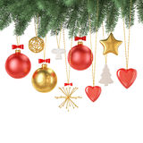 Christmas decoration hanging, isolated on white background. Holiday concept Royalty Free Stock Photo
