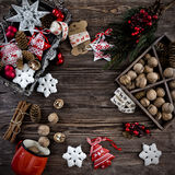 Christmas decoration hanging over the wooden background Royalty Free Stock Photography