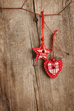 Christmas decoration hanging over wooden board Royalty Free Stock Image