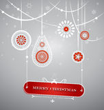 Christmas decoration with hanging plate with Christmas sign. Royalty Free Stock Images