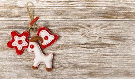 Christmas Decoration Hanging Toy, Grunge Wooden Background Royalty Free Stock Images