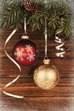 Christmas decoration hangs up on a tree. stock photos