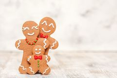 Christmas decoration with Happy Gingerbread man family Royalty Free Stock Photo