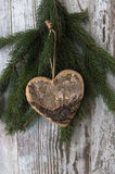 Christmas decoration, hart, and conifer of fir tree on textured. Christmas decoration on wood background stock photos