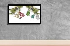 Christmas decoration with hdtv on concrete wall background.  stock image