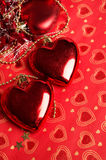 Christmas decoration heart at red background. Stock Images