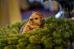 Christmas decoration - hedgehog lying on the Advent wreath stock images