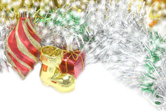 Christmas Decoration. Holiday Decorations on bokeh Stock Photo