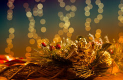 Christmas Decoration With Holiday Lights Royalty Free Stock Photo