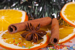 Christmas decoration. Christmas holiday traditional decoration with star anise, cinnamon and dried orange slices Royalty Free Stock Photos