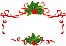 Free Christmas Decoration / Holly And Ribbons Border Royalty Free Stock Images - 6666009