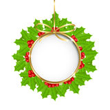 Christmas decoration with holly berry Royalty Free Stock Images