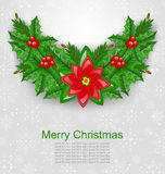 Christmas Decoration with Holly Berry Stock Image