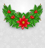 Christmas decoration with holly berry, pine and poinsettia Royalty Free Stock Photography