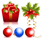 Christmas decoration: holly, christmas balls and g Royalty Free Stock Photo
