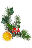 Christmas decoration with holly and dried orange. Stock Images