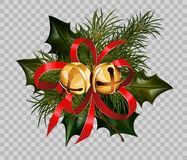 Christmas decoration holly fir wreath bow golden bells element vector transparent background. Christmas decoration design template of holly leaf and fir tree Royalty Free Stock Image