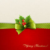 Christmas decoration with holly leaves stock illustration