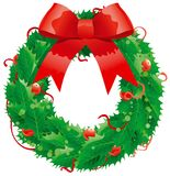 Christmas decoration -  holly wreath. Vector abstract christmas illustration of  wreath on white background Stock Photo
