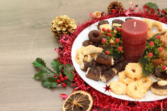 Christmas decoration with homemade cookies and xmas festive Stock Photo