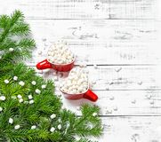 Christmas decoration Hot drink marshmallow flat lay. Christmas decoration. Hot drink with marshmallow. Holidays food flat lay royalty free stock images