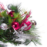 Christmas Decoration. Hot Pink Balls on Christmas tree branch is Stock Photo
