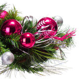 Christmas Decoration. Hot Pink Balls on Christmas tree branch Royalty Free Stock Photo