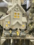 Christmas decoration with house and mice Royalty Free Stock Photography