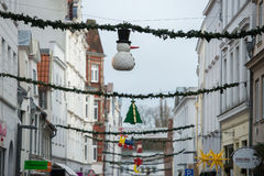 Christmas decoration in Huxstrasse Lubeck North Germany street Royalty Free Stock Photos