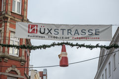 Christmas decoration in Huxstrasse Lubeck North Germany street Stock Image
