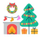 Christmas Decoration Icons Vector Illustration. Christmas decoration icons, wreath with leaves and bow, tree decorated with garlands, fireplace and socks above Royalty Free Stock Photography